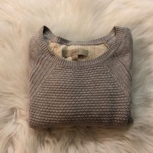 Loft by Anne Taylor Grey and White sweater